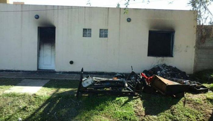 Vivienda incendiada en Oncativo