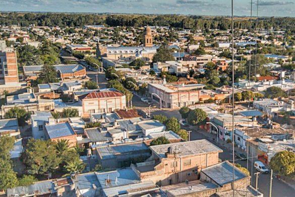 Vista aerea de la ciudad de Sampacho