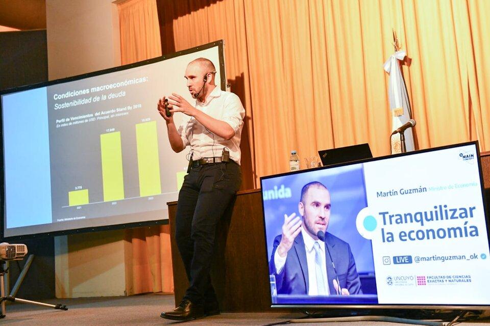 El ministro de Economía Martín Guzmán la semana pasada, en Mendoza. Imagen: Ministerio de Economía