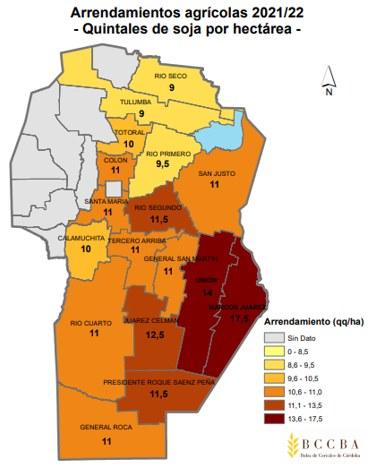 Los alquileres más elevados se estiman en el este y sureste de la provincia, encontrando los arrendamientos más caros en Marcos Juárez con un promedio de 17,5 qq/ha, seguido por Unión (14 qq/ha) y Juarez Celman (12,5 qq/ha).